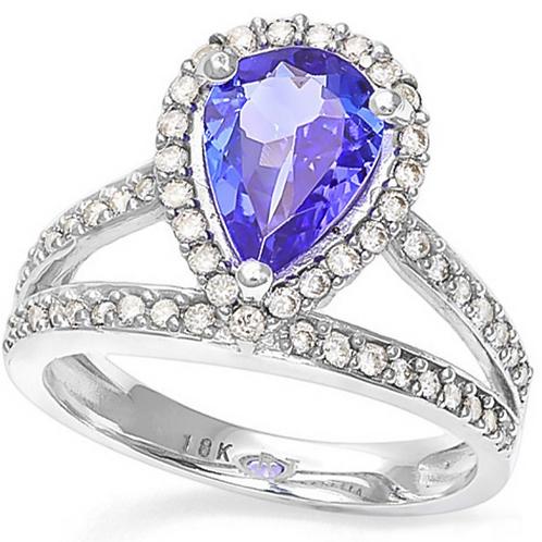 Ring, 2CT Tanzanite Double Band Diamond 18K WG