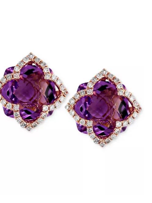 EFFY Lavender Amethyst (6-1/4 C.T.T.W.) Clover Earrings 14K Rose Gold