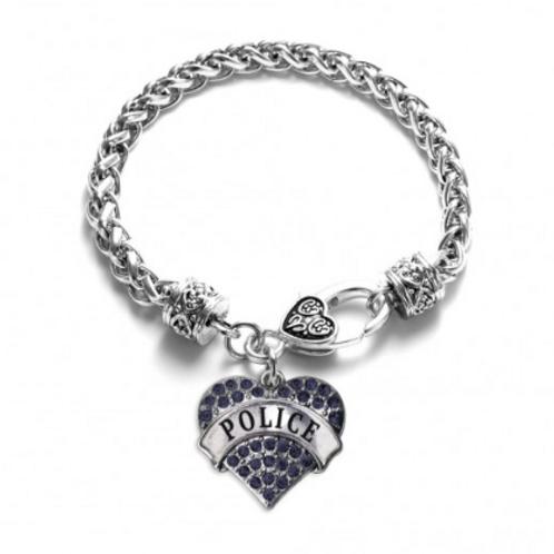 Police Pave Heart Silver Toggle Bracelet