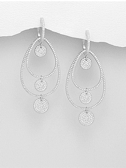 Omega Lock Earrings With Pave' Set 925 Sterling Silver