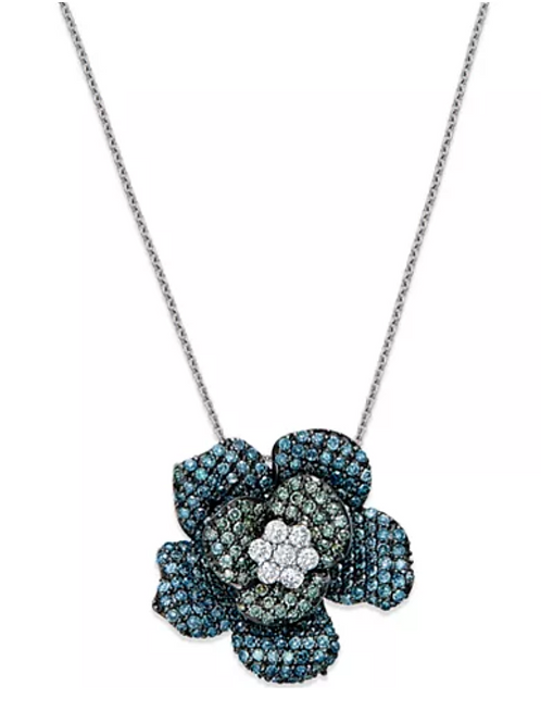Necklace, EFFY Blue and Green Diamond Flower 18