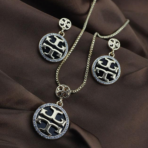 Tory Burch Necklace and Earring Set Silver