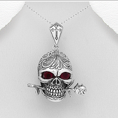 Skull with Ruby Eye's & Bites down on a Thorn-Rose Solid 925 Sterling Silver