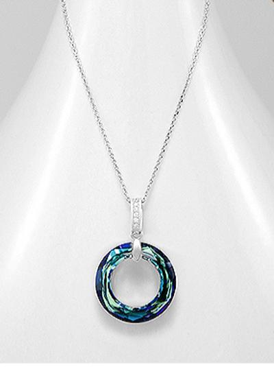 Bermuda Blue Swarovski Crystal Necklace 925 Sterling Silver