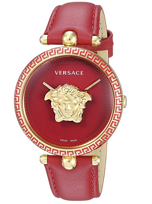 Versace Watch, Red Leather Band