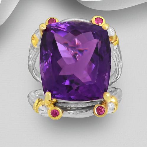 Amethyst With Pink Sapphires 22k YG 925 Sterling Silver