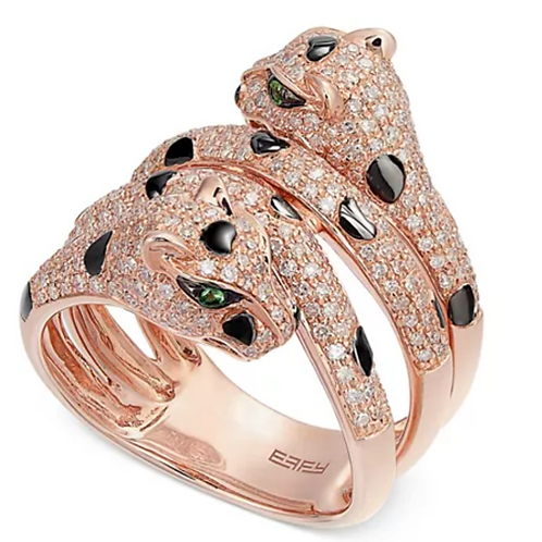 EFFY Diamond (1 cttw) and Tsavorite Panther Ring 14K Yellow Gold