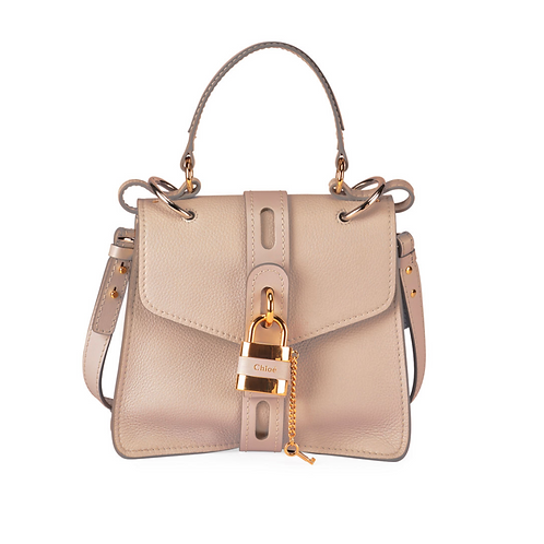 Chloe Lock & Key Gray Crossbody Bag