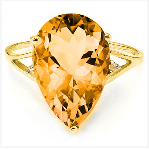 Ring, 6CT Citrine and Diamond 10K YG