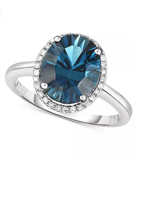 London Blue Topaz & Diamond (3-1/2 C.T.T.W.) Ring 14K WG