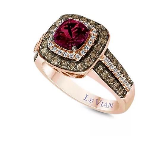 Raspberry Garnet Diamond Ring 14K Rose Gold (2CTTW)