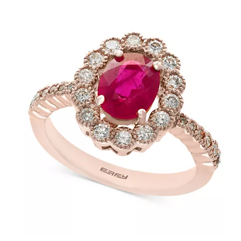 EFFY Certified Ruby (1-3/8 c.t. t.w.) Diamond (5/8 c.t. t.w.) 14K Rose Gold