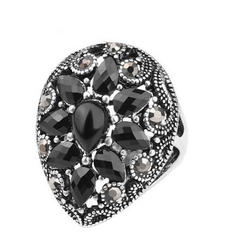 Ring, Diamond cut, Black Onyx