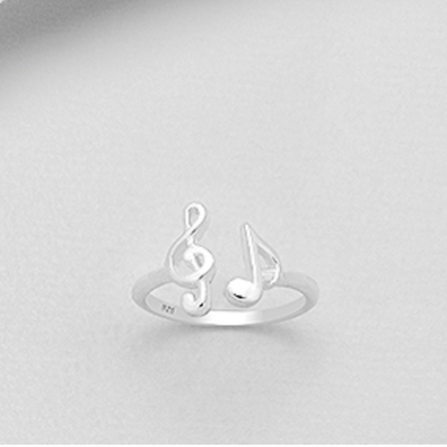 Music Notes Ring Sterling Silver