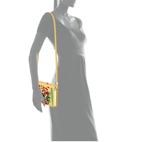 Olympia Le-Tan Paris Embroidered Book Clutch Bag in Yellow