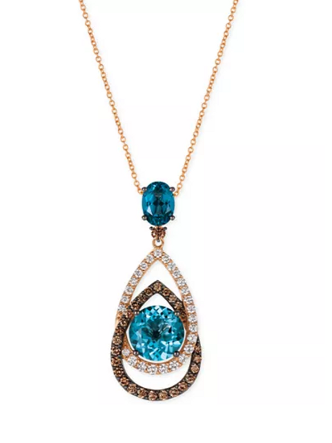 Chocolatier London Blue Topaz (5-1/2 CT) Diamond (1-1/4 CT) Pendant Necklace 14K