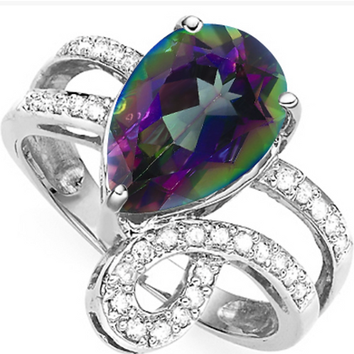 3CT Mystic Blue and Diamond Ring