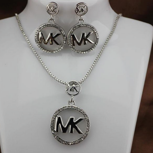 copy of Michael Kors Necklace and Earring Set Silver