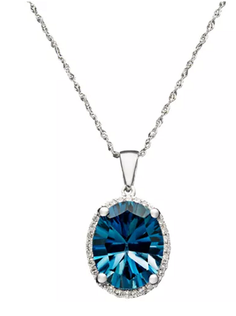 London Blue Topaz Necklace 4-1/2CT 14K WG