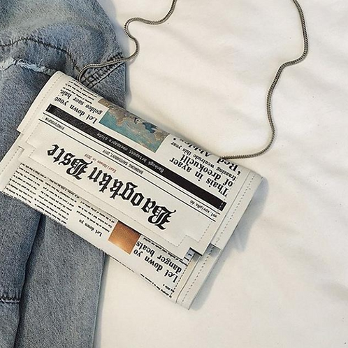 Newspaper Crossbody Handbag White