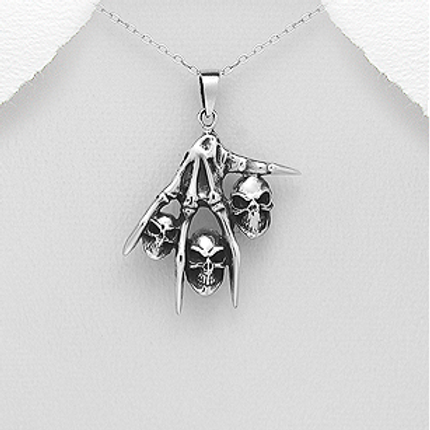 Skeleton Hand with Multi Skull Pendant Necklace