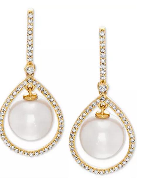 White Cultured Pearl & Diamond Earrings 14K