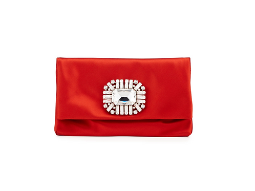 Jimmy Choo Titania Jeweled Red Satin Clutch Bag