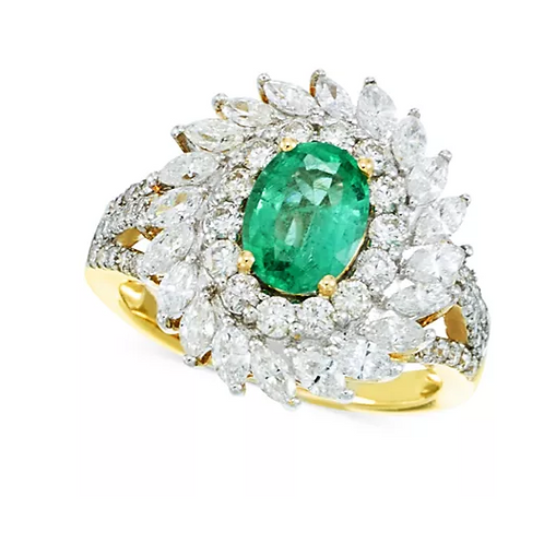 Emerald and Diamond Ring 14K Gold