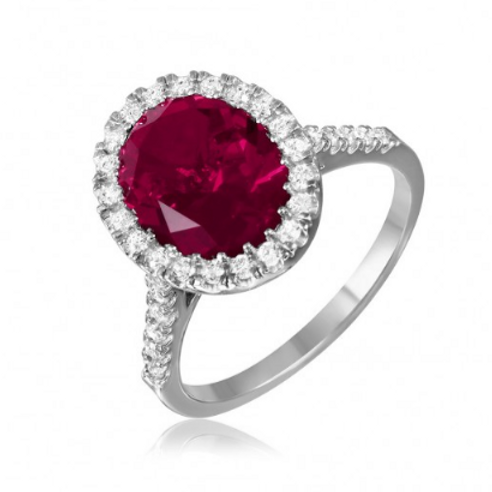 Ruby (2 cttw) Halo Ring 925 Sterling Silver