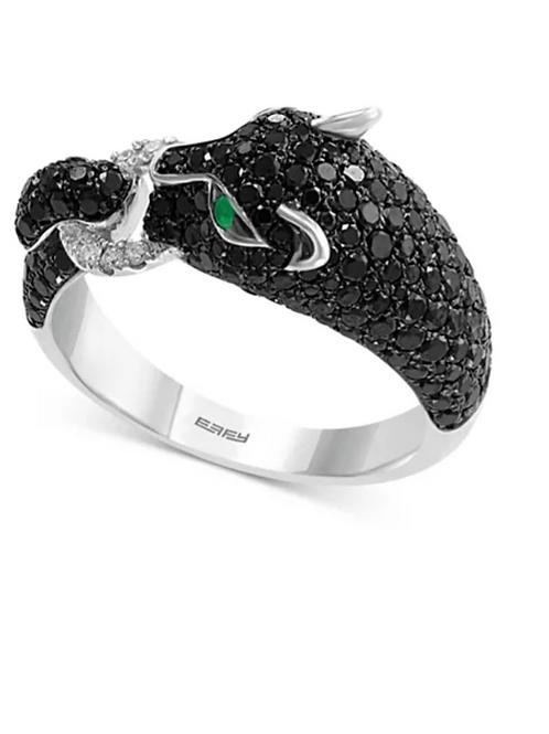EFFY Black Diamond Panther Ring 14K White Gold