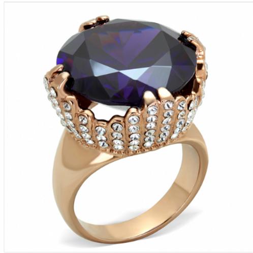 8 Carat Amethyst with Diamond White Pave Set Stones Rose Gold Ring