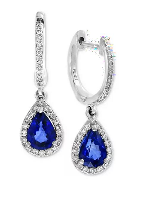 EFFY Sapphire & Diamond Drop Earrings 14K White God