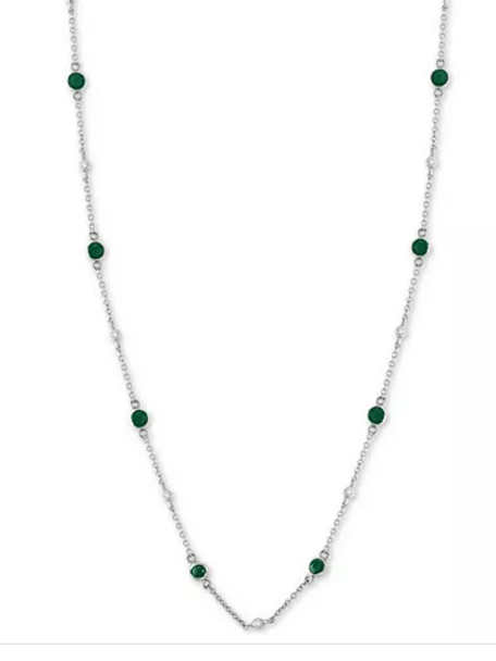 EFFY Emerald and Diamond Station Collar Necklace 14K WG