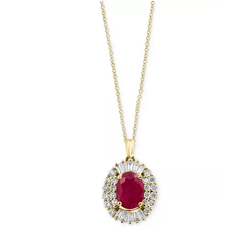Ruby (1 CTTW) and Diamond (1-1/2 CTTW) Necklace 14K Gold