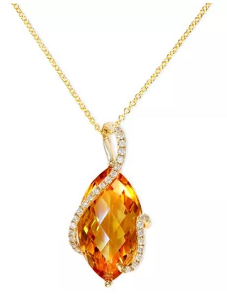 EFFY Citrine (8-1/2 cttw) Diamond Pendant Necklace 14K Yellow Gold