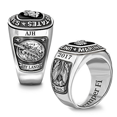 USMC By Land, Personalized Stainless Steel Ring