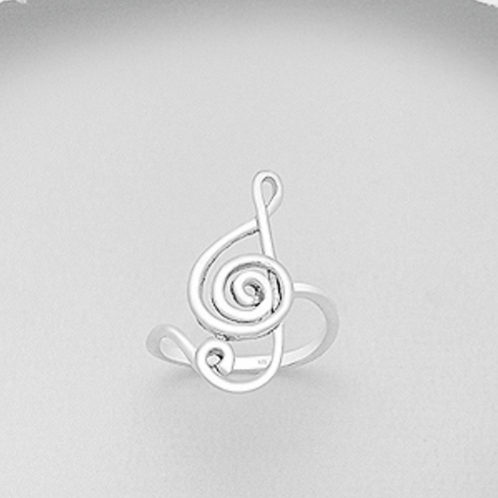 Large Music Note Ring Sterling Silver