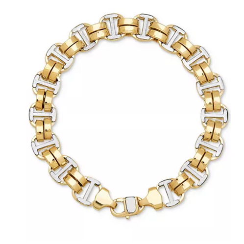 Two-Toned Double Oval Link Bracelet Solid 10K White and Yellow Gold