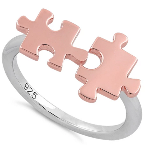 Jigsaw Puzzle Pieces Ring 925 Sterling Silver with Rose Gold