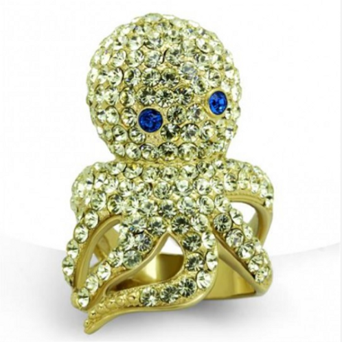 5 Carat Octopus ring Silver and Gold