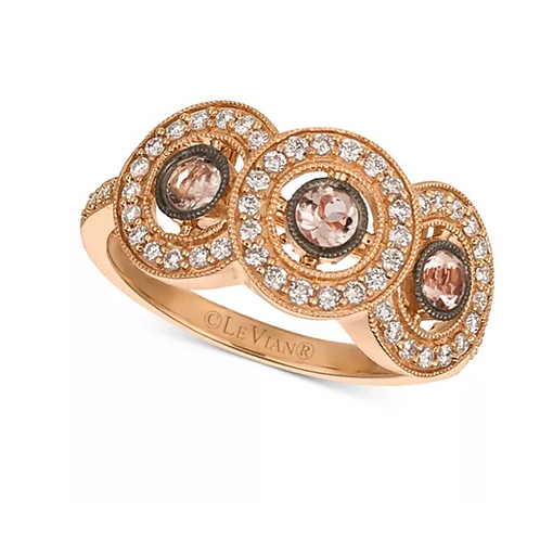 Peach Morganite and Diamond Ring 14K Rose Gold