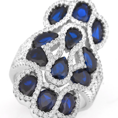 Vintage Sapphire Ring in 925 Sterling Silver