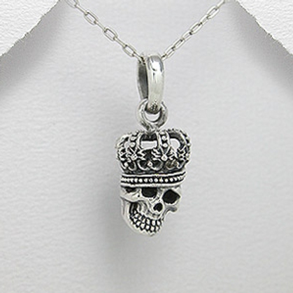 Crowned Skull Head Pendant Necklace