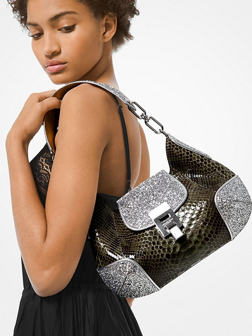 Michael Kors Bancroft Python and Glitter Shoulder Bag