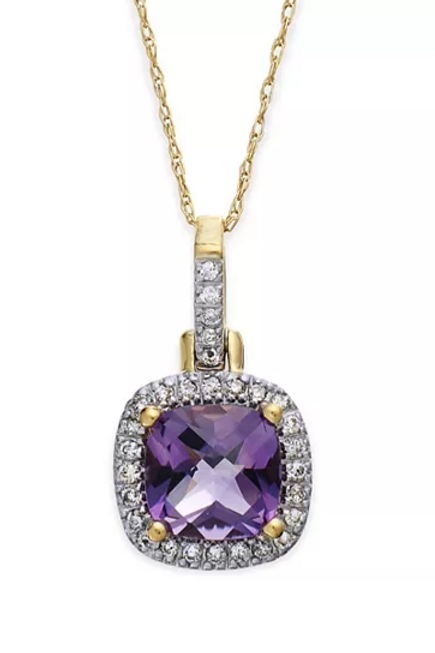 Amethyst(4-1/10 cttw) with Diamond Accents 10K Gold Pendant Necklace