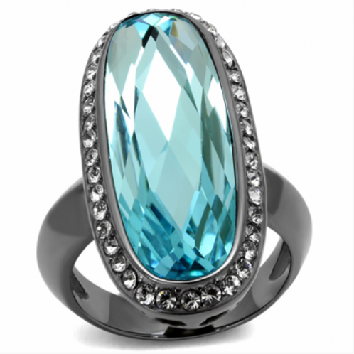 Aquamarine (3 cttw) Stainless Steel Ring