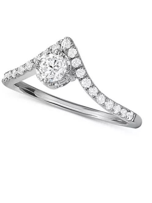 """Diamond (1 C.T.T.W.) """"V"""" Shape Engagement Ring 14K White Gold"""
