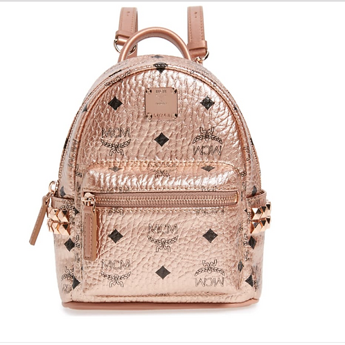 MCM Stud Coated Backpack-Champagne Gold