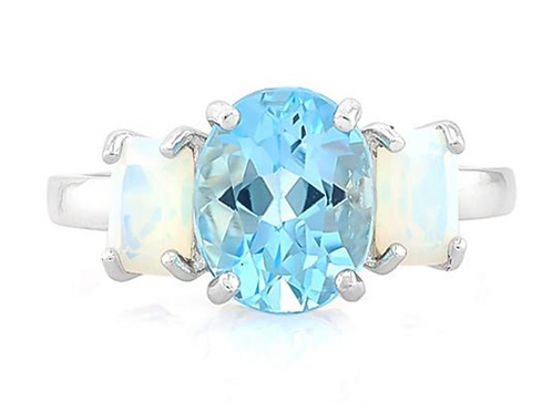 Ring, Baby Swiss Blue Topaz & Fire Opal