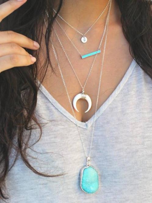 Layered Necklace Set, Turquoise Set